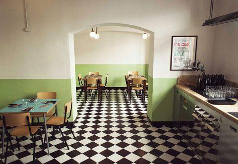 Room, Property, Green, Floor, Interior design, Tile, Building, Flooring, Table, Furniture,