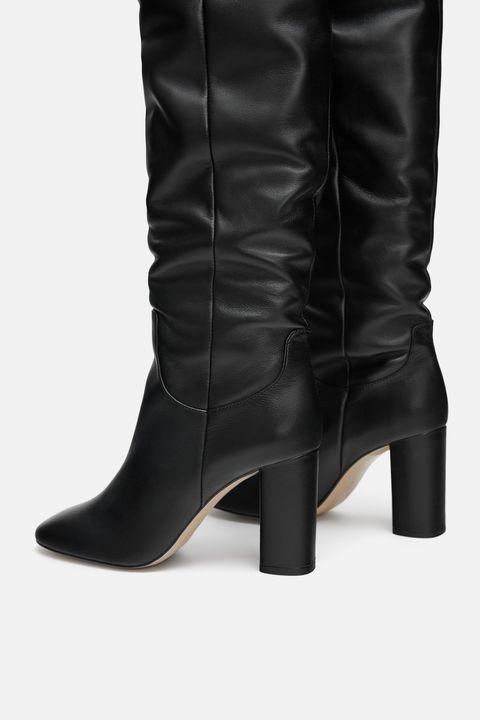 Footwear, Boot, Shoe, High heels, Knee-high boot, Leg, Brown, Leather, Durango boot, Riding boot,