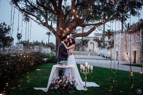 Photograph, Tree, Ceremony, Backyard, Wedding, Dress, Bride, Wedding dress, Lawn, Grass,