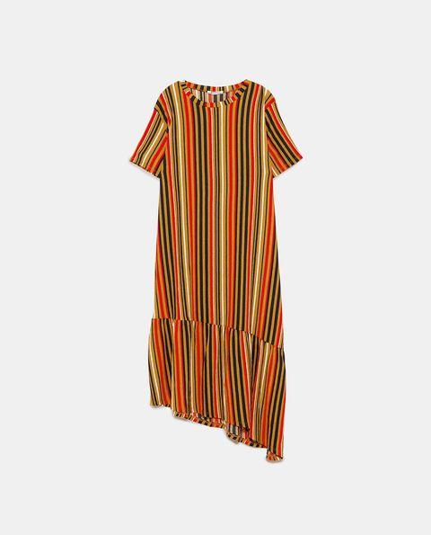 Clothing, Orange, Day dress, Sleeve, Dress, Cover-up, T-shirt, Pattern,