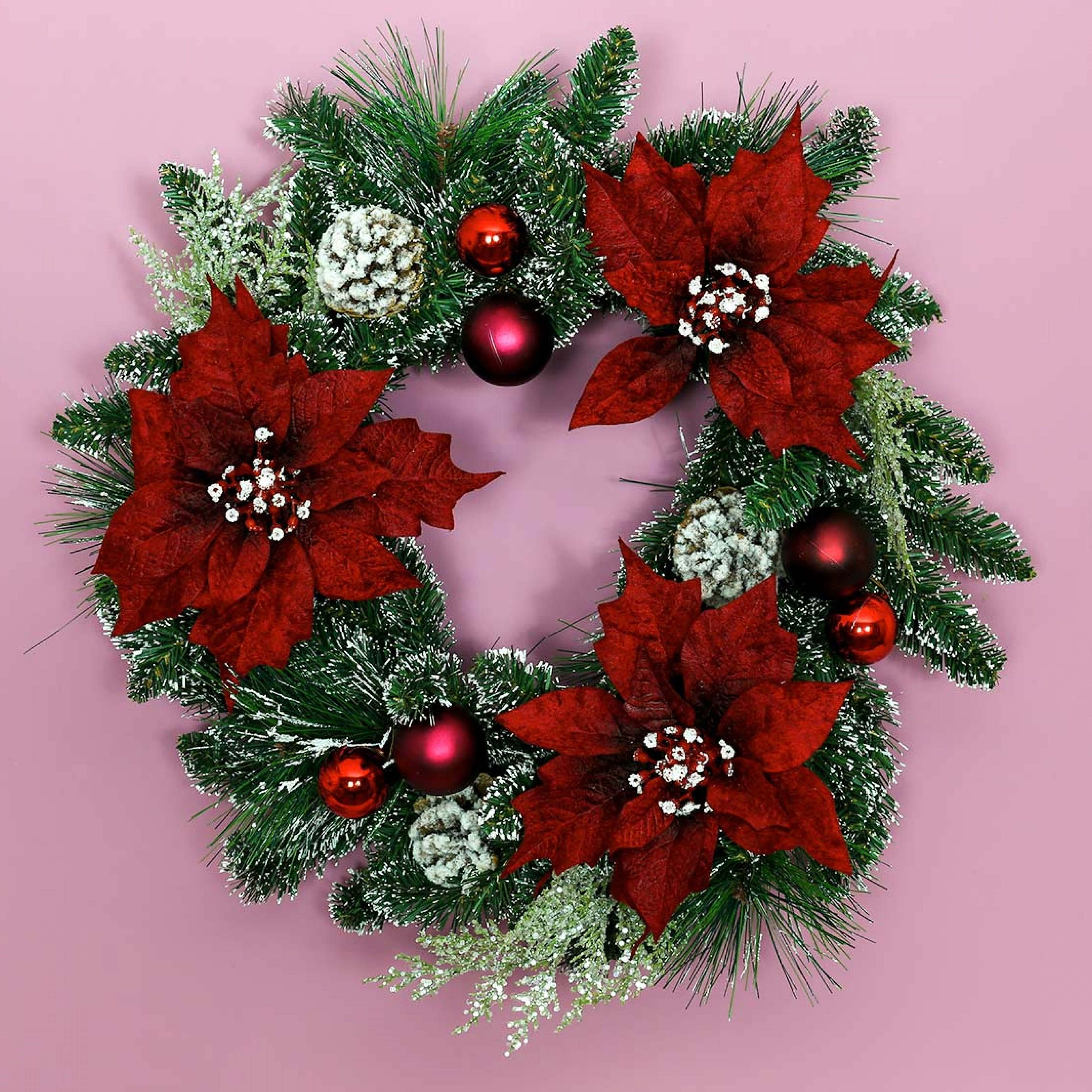60cm Indoor Poinsettia Christmas Wreath with Decorations