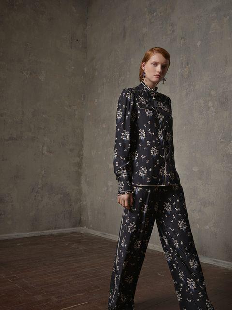Clothing, Fashion model, Fashion, Outerwear, Neck, Trousers, Visual arts, Fashion design, Haute couture, Formal wear,