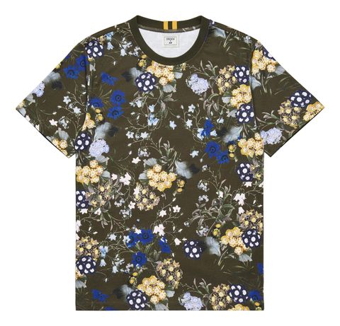 Clothing, T-shirt, Blue, Sleeve, Product, Pattern, Top, Active shirt, Pattern, Wildflower,