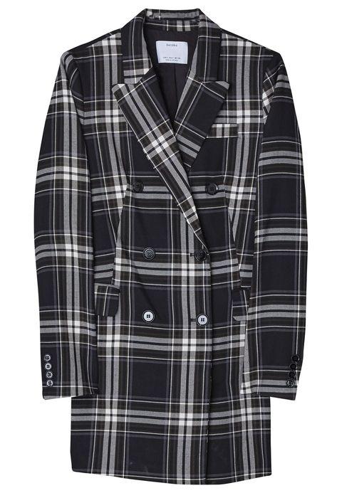 Clothing, Plaid, Tartan, Pattern, Outerwear, Sleeve, Design, Textile, Jacket, Button,