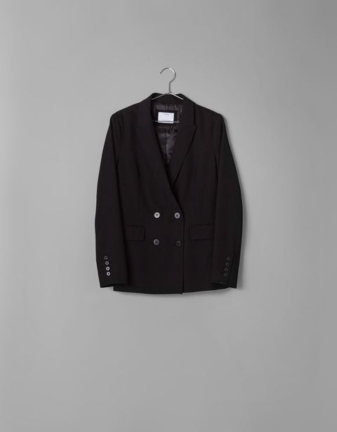 Clothing, Outerwear, Black, Sleeve, Button, Jacket, Clothes hanger, Blazer, Sweater, Cardigan,