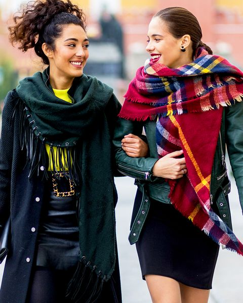 People, Street fashion, Fashion, Yellow, Outerwear, Fun, Scarf, Human, Friendship, Smile,