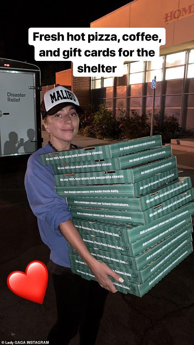Lady Gaga Delivers Pizza, Coffee, and Gift Cards to a California Wildfire Evacuation Shelter