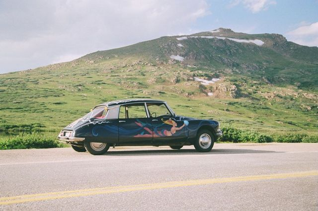 a hand painted 1965 citroen at the top of the continental united states