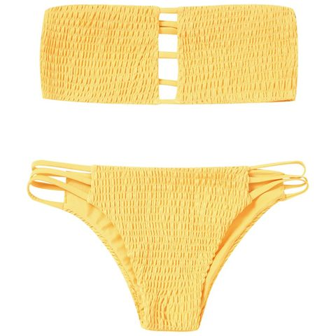 Yellow, Amber, Metal, Gold, Swimsuit bottom, Undergarment, Natural material, Swim brief, Gold, Briefs,