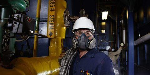 Blue-collar worker, Personal protective equipment, Helmet, Workwear, Engineer, Hard hat, Infrastructure, Miner, Industry, Headgear,