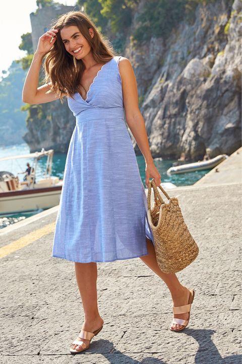 Clothing, White, Dress, Blue, Turquoise, Fashion, Street fashion, Photo shoot, Footwear, Summer,