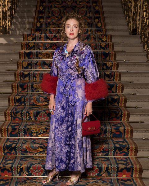 Clothing, Fashion, Dress, Beauty, Fashion design, Purple, Formal wear, Textile, Fashion model, Costume,