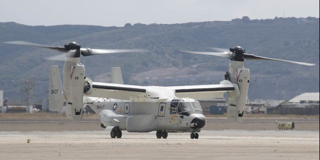 san diego june 22, 2020the first cmv 22b osprey assigned to fleet logistics multi mission squadron vrm 30 lands at naval air station north island vrm 30 was established in late 2018 to begin the navy's transition from the c 2a greyhound, which has provided logistics support to aircraft carriers for four decades, to the cmv 22b, which has an increased operational range, greater cargo capacity, faster cargo loadingunloading, increased survivability and enhanced beyond line of sight communications compared to the c 2a  us navy photo by mass communication specialist 2nd class chelsea d meiller released 200622 n gr718 1301