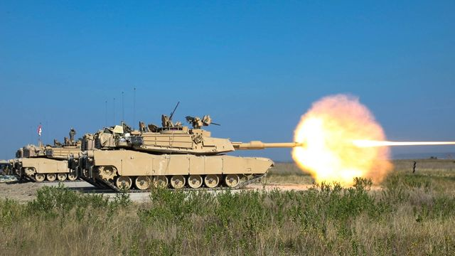 """3rd battalion, 8th cavalry regiment, 3rd armored brigade combat team, 1st cavalry division sends the first round downrange with the us army's new m1a2 sepv3 abrams main battle tank, fort hood, texas, august 18, 2020 after the greywolf brigade conducts a test fire on every tank they will dial in their sites by """"zeroing"""" the tanks main gun, ensuring they are fully prepared to conduct future gunnery live fire exercises"""