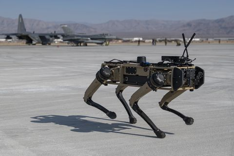 a ghost robotics vision 60 prototype provides additional security at a simulated austere base during the advanced battle management system exercise on nellis air force base, nevada, sept 1, 2020 the abms is an interconnected battle network   the digital architecture or foundation   which collects, processes and shares data relevant to warfighters in order to make better decisions faster in the kill chain in order to achieve all domain superiority, it requires that individual military activities not simply be de conflicted, but rather integrated – activities in one domain must enhance the effectiveness of those in another domain us air force photo by tech sgt cory d payne