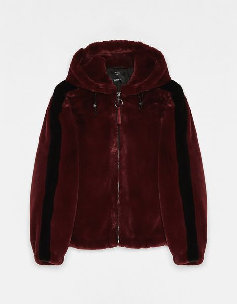 Clothing, Outerwear, Jacket, Maroon, Hood, Sleeve, Velvet, Fur, Fur clothing, Textile,