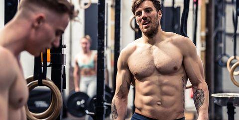 Barechested, Physical fitness, Muscle, Bodybuilder, Bodybuilding, Shoulder, Chest, Abdomen, Arm, Chin,