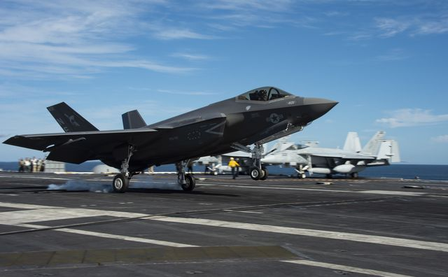 210128 n ss900 1274 pacific ocean jan 28, 2021 an f 35c lightning ii from strike fighter squadron vfa 147 lands on the flight deck of nimitz class nuclear aircraft carrier uss carl vinson cvn 70 vinson is currently underway in the pacific ocean conducting routine operations in the us third fleet us navy photo by mass communication specialist 3rd class aaron t smith