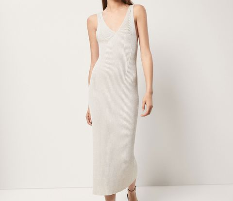 Clothing, Dress, White, Day dress, Shoulder, Gown, Neck, Waist, Cocktail dress, Outerwear,