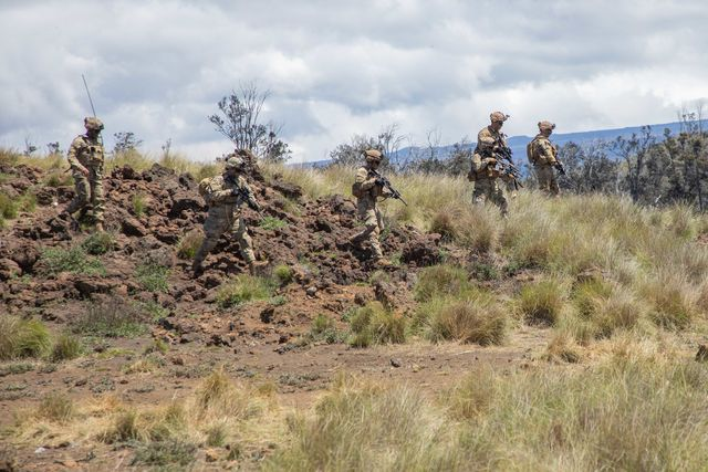 infantrymen assigned to 2nd battalion, 35th infantry regiment, 3rd infantry brigade combat team, 25th infantry division conduct squad live fire training lanes during a rotation to pohakuloa training area on hawaii island on april 27, 2021 throughout the lane the soldiers made use of suppressors on their m4 carbines to help shield the noise of their initial contact with enemy targets us army photo by staff sgt alan brutus