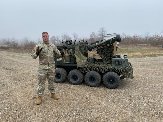 sgt 1st class richard dyal, a company, 1 28th infantry, 3rd infantry division, fort benning, georgia, speaks about the additional level of lethality that robotic combat vehicles can bring to light forces following a live fire exercise at camp grayling, michigan, april 28, 2021