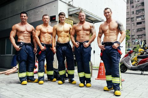 Barechested, Muscle, Firefighter, Workwear, Chest, Physical fitness, Team, Bodybuilder, Bodybuilding, Abdomen,