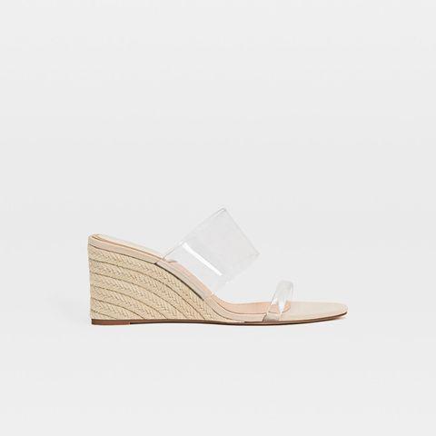 Footwear, Shoe, Slingback, Beige, Espadrille, Wedge, Sandal,