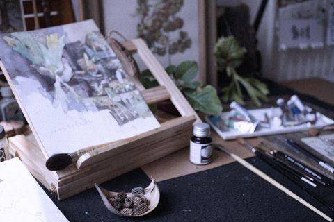 Table, Tree, House, Room, Architecture, Furniture, Plant, Interior design, Paper,