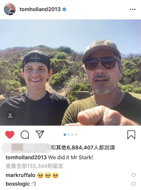 蜘蛛人湯姆霍蘭德與鋼鐵人小勞勃道尼合照逼哭網友