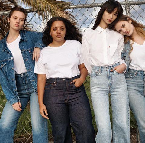 Jeans, Denim, White, Clothing, Beauty, Skin, Friendship, Waist, Fashion, Textile,