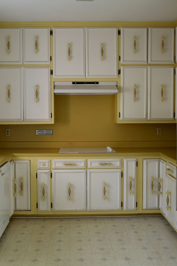before kitchen yellow cabinets