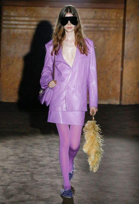 Fashion model, Fashion, Clothing, Purple, Fashion show, Violet, Runway, Pink, Street fashion, Outerwear,