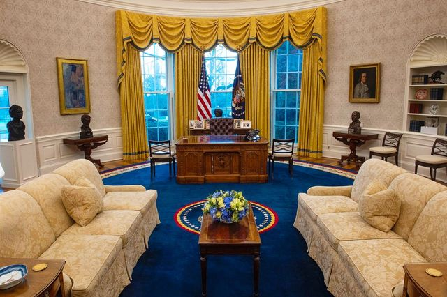 president joe biden's oval office in the white house, as seen on inauguration day 2021
