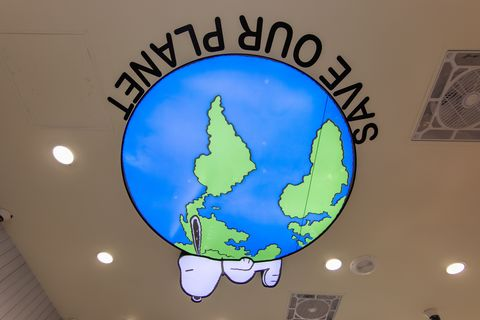 史努比躺在藍綠色的地球上