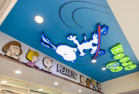 藍色的史努比在天花板
