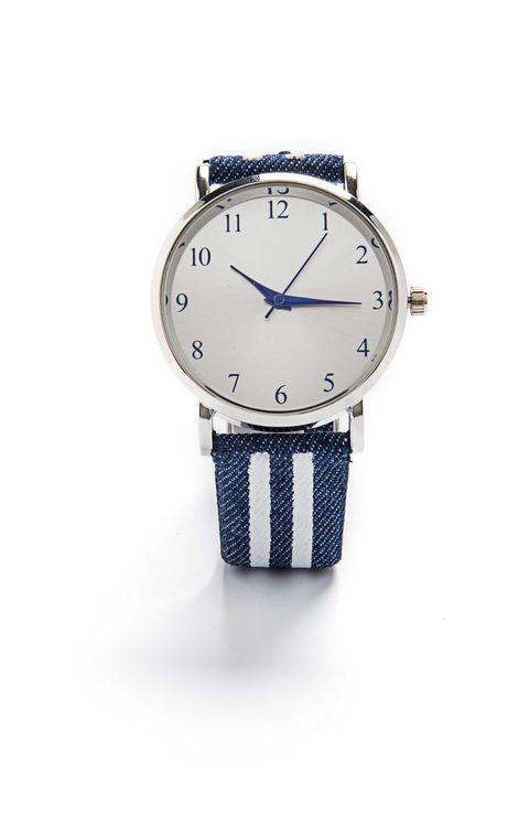 Watch, Analog watch, Watch accessory, Strap, Blue, Fashion accessory, Product, Jewellery, Brand, Font,