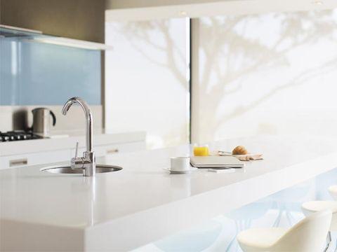 Room, Plumbing fixture, Glass, Interior design, Sink, Kitchen, Dishware, Serveware, Tap, Kitchen appliance accessory,