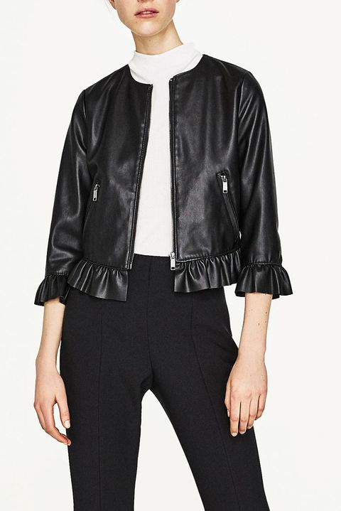 Clothing, Leather, Jacket, Leather jacket, Outerwear, Sleeve, Textile, Top, Collar, Neck,