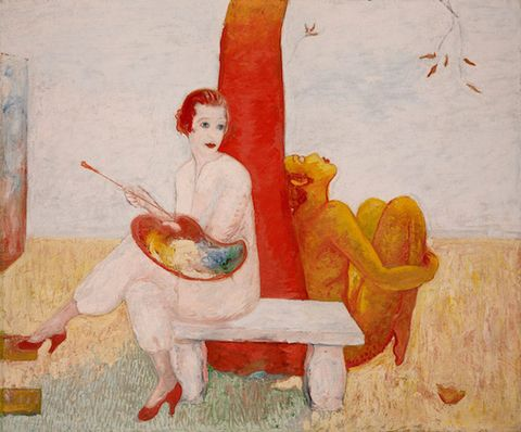 Sitting, Art, Artwork, Paint, Art paint, Painting, Illustration, String instrument, Watercolor paint, Visual arts,