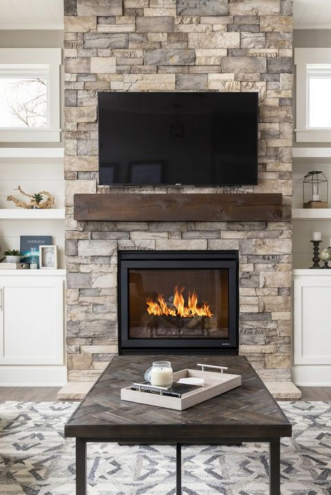 image - Living Room With Fireplace
