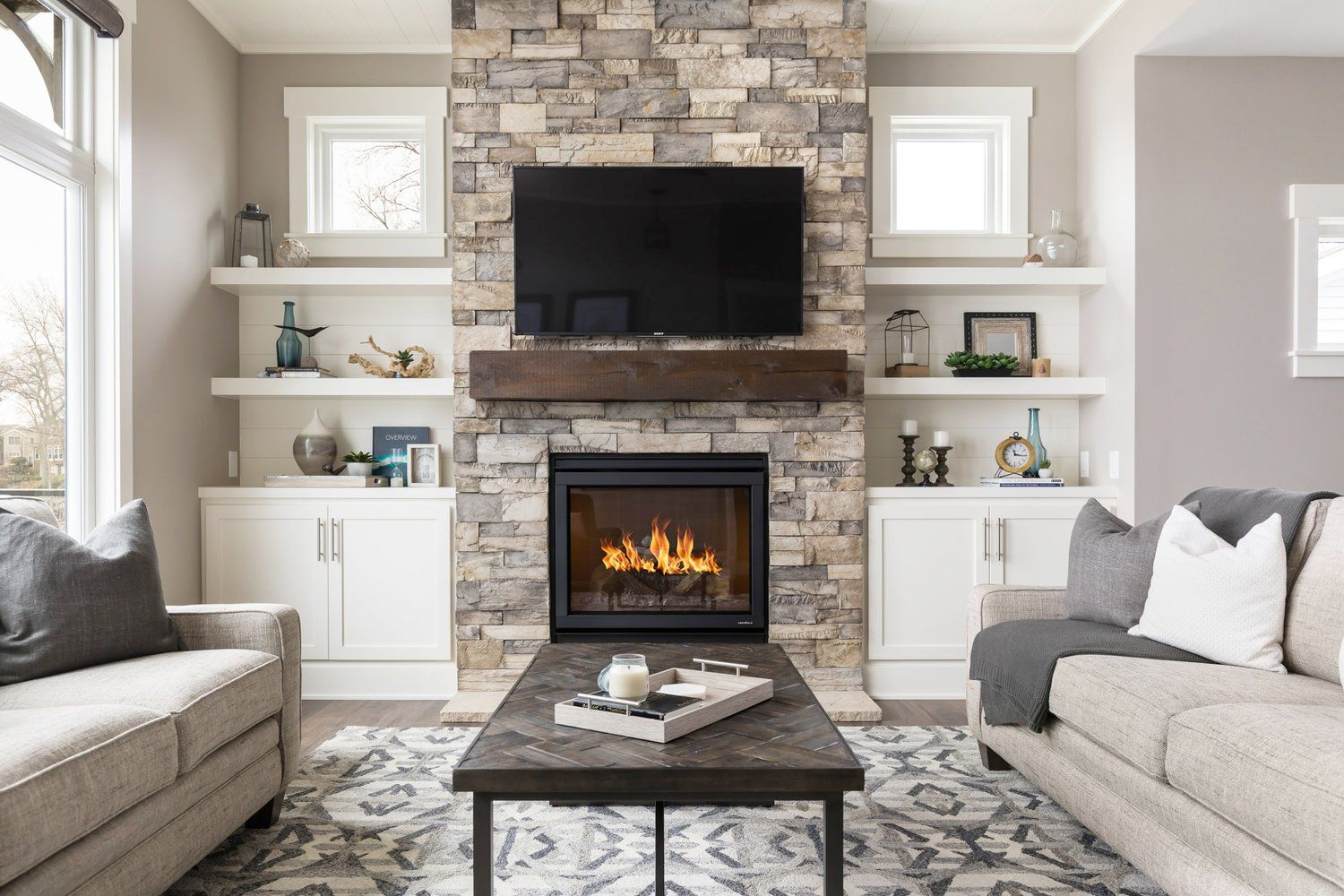 Modern Living Room Fireplace Walls Part - 19: Courtesy of Michaela Noelle Designs