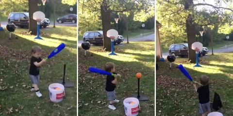 2 year old sinks basketball shot