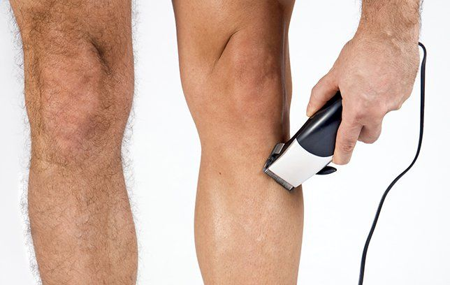 Man with shaved leg