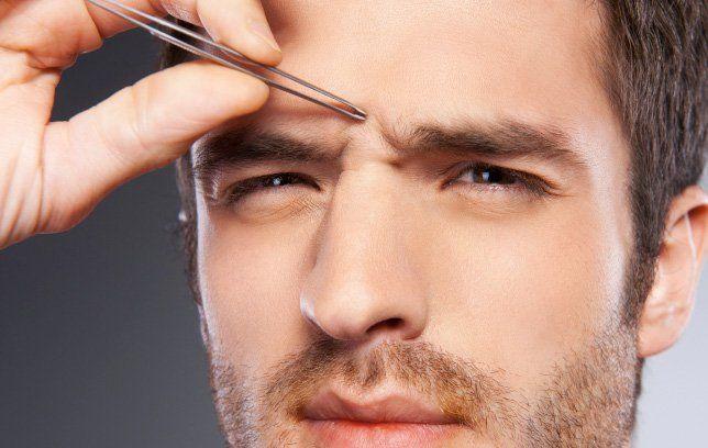 Plucking eyebrows men