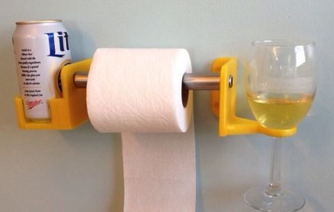 3D-Printed Toilet Paper and Beer Holder