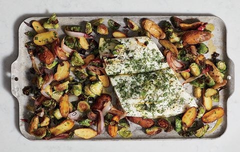 Halibut with Potatoes and Sprouts