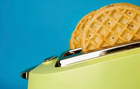 Top frozen waffles with nut butter to make them healthier.