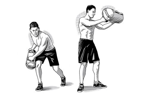 sandbag shoveling oblique exercise