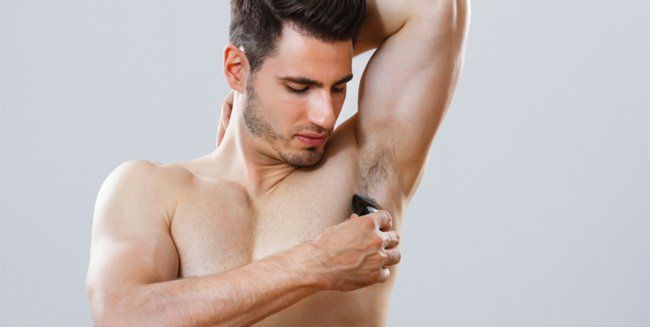 Male armpits shaved