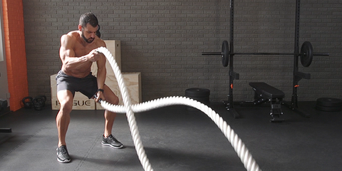 battle ropes and pushups arm workout